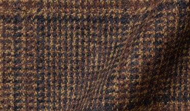 Fabric swatch of Japanese Washed Hickory Low Twist Glen Plaid Fabric