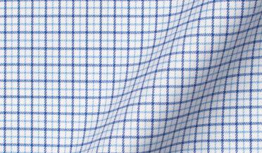 Thomas Mason Non-Iron Stretch Blue Tattersall Fabric Sample