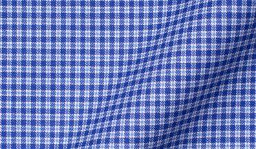 Fabric swatch of Thomas Mason Non-Iron Stretch Dark Blue Small Check Fabric
