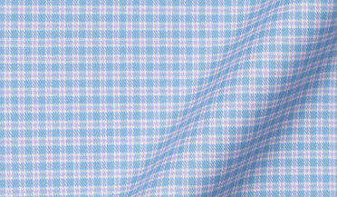 Thomas Mason Non-Iron Stretch Blue and Lavender Check Fabric Sample