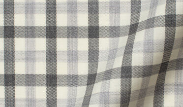 Fabric swatch of Reda Grey Melange Gingham Merino Wool Fabric