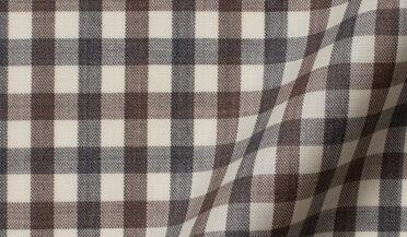 Fabric swatch of Reda Taupe and Grey Melange Gingham Merino Wool Fabric