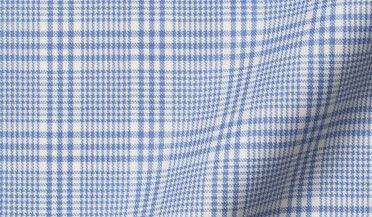 Custom shirt made with Reda Blue Glen Plaid Merino Wool Fabric