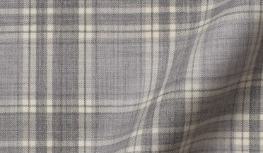 Fabric swatch of Reda Light Grey and Natural Plaid Merino Wool Fabric