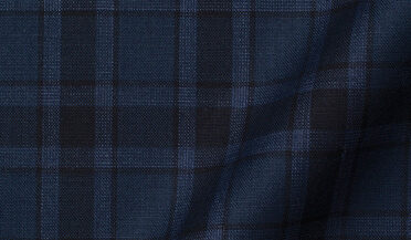 Fabric swatch of Reda Slate Plaid Merino Wool Fabric