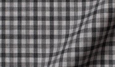 Custom shirt made with Reda Grey Tonal Small Gingham Merino Wool Fabric