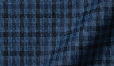 Custom shirt made with Reda Slate Tonal Small Gingham Merino Wool Fabric