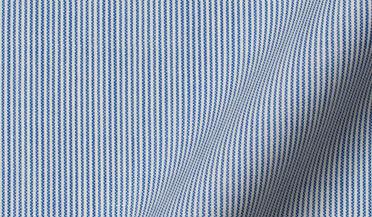 Fabric swatch of Reda Blue Fine Stripe Merino Wool Fabric