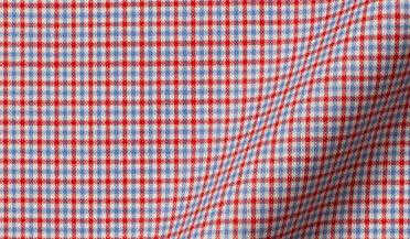 Custom shirt made with Reda Red and Light Blue Micro Check Merino Wool Fabric