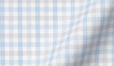Custom shirt made with Cooper Light Grey and Blue Check Stretch Twill Fabric