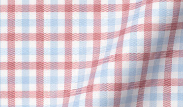 Fabric swatch of Cooper Red and Blue Check Stretch Twill Fabric