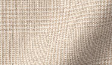 Fabric swatch of Di Sondrio Beige Natural Dye Glen Plaid Linen Fabric