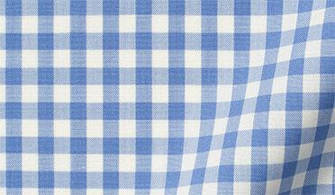 Fabric swatch of Reda Light Blue Gingham Merino Wool Fabric