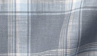 Fabric swatch of Portuguese Washed Slate and Sky Shadow Plaid Linen Fabric