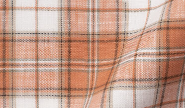 Fabric swatch of Portuguese Washed Sienna and White Plaid Linen Fabric