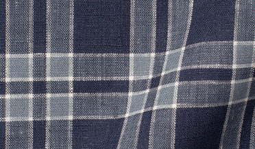 Fabric swatch of Portuguese Washed Navy and Slate Large Plaid Linen Fabric