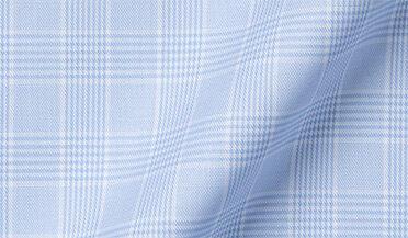 Fabric swatch of Thomas Mason WR Light Blue Glen Plaid Fabric