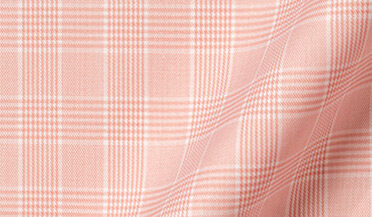 Fabric swatch of Thomas Mason WR Coral Glen Plaid Fabric