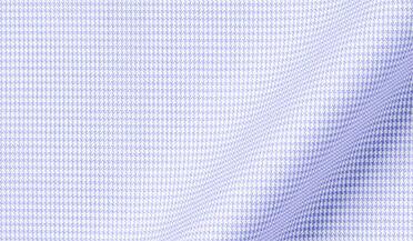 Fabric swatch of Thomas Mason Goldline Blue Small Houndstooth Fabric