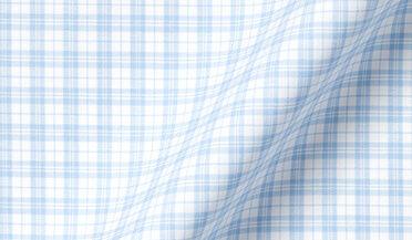 Fabric swatch of Thomas Mason Goldline Sky Multi Plaid Fabric