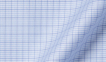 Fabric swatch of Mayfair Wrinkle-Resistant Light Blue Small Houndstooth Check Fabric