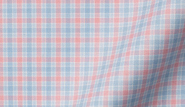Fabric swatch of Mayfair Wrinkle-Resistant Sky and Pink Multi Check Fabric