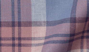 Fabric swatch of Rose and Slate Vintage Plaid Cotton Linen Blend Fabric