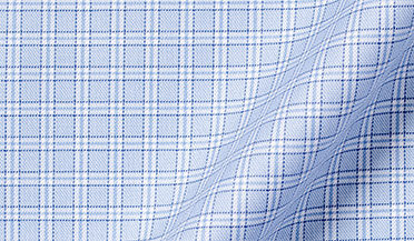 Fabric swatch of Mayfair Wrinkle-Resistant Light Blue Small Check Fabric