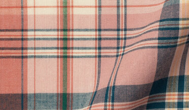 Coral Blue and Green Indian Madras Fabric Sample