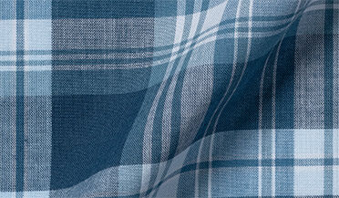 Fabric swatch of Slate and Blue Indian Madras Fabric