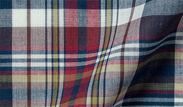 Fabric swatch of Navy and Red Indian Madras Fabric