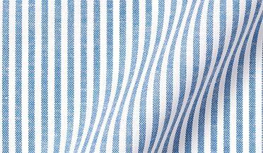 Fabric swatch of Blue Linen Blend Bengal Stripe Twill Fabric