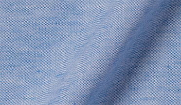 Fabric swatch of Antimicrobial Blue Linen Blend Oxford Fabric