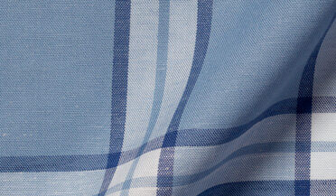 Fabric swatch of Faded Blue Cotton Tencel and Linen Blend Vintage Plaid Fabric