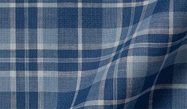 Fabric swatch of Blue Cotton and Linen Slub Plaid Fabric