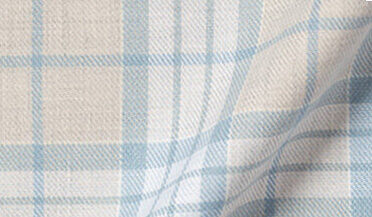 Fabric swatch of Melange Grey and Vintage Blue California Plaid Fabric