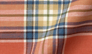 Fabric swatch of Japanese Tomato and Blue Cotton and Linen Plaid Fabric
