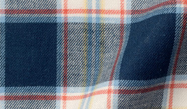 Fabric swatch of Japanese Navy and Faded Red Cotton and Linen Plaid Fabric