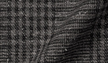 Fabric swatch of Japanese Grey and Black Cotton Blend Glen Plaid Fabric