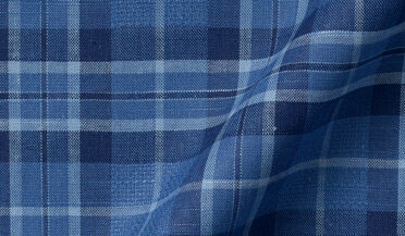 Tonal Blue Cotton and Linen Plaid Fabric Sample
