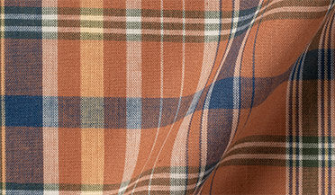Fabric swatch of Rust and Navy Indian Madras Fabric