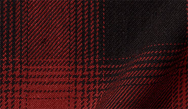 Fabric swatch of Japanese Black and Red Heavy Ombre Plaid Fabric