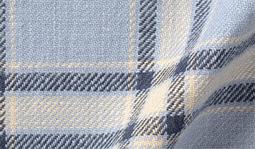 Fabric swatch of Japanese Washed Light Blue and Natural Country Plaid Fabric