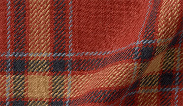 Fabric swatch of Japanese Washed Scarlet and Gold Country Plaid Fabric
