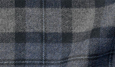 Fabric swatch of Canclini Slate and Grey Plaid Beacon Flannel Fabric