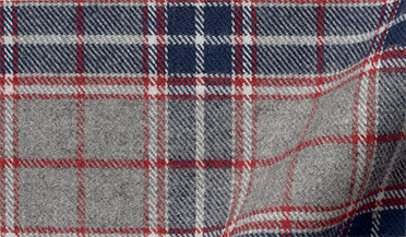 Fabric swatch of Sierra Red Navy and Grey Plaid Flannel Fabric