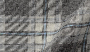 Fabric swatch of Satoyama Charcoal and Sky Plaid Flannel Fabric