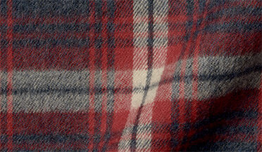 Fabric swatch of Japanese Slate and Red Shaggy Plaid Flannel Fabric