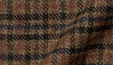 Fabric swatch of Japanese Washed Blue and Hickory Low Twist Plaid Fabric
