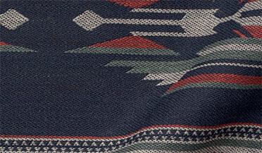 Fabric swatch of Japanese Navy Southwest Stripe Fabric